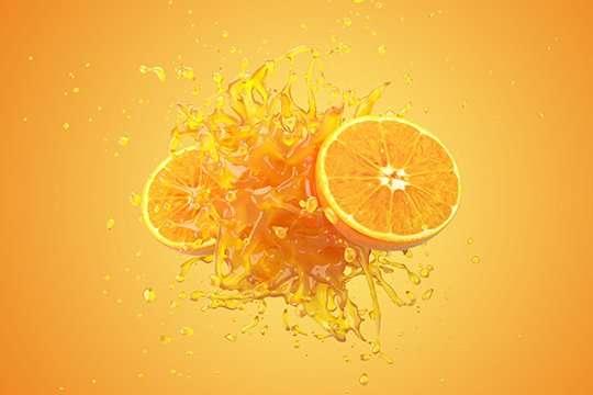 Explosion Orange juice liquid with Orange fruit on yellow backgr