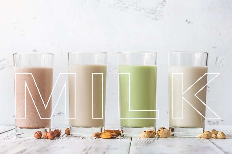 Assortment of different kinds of nut milk